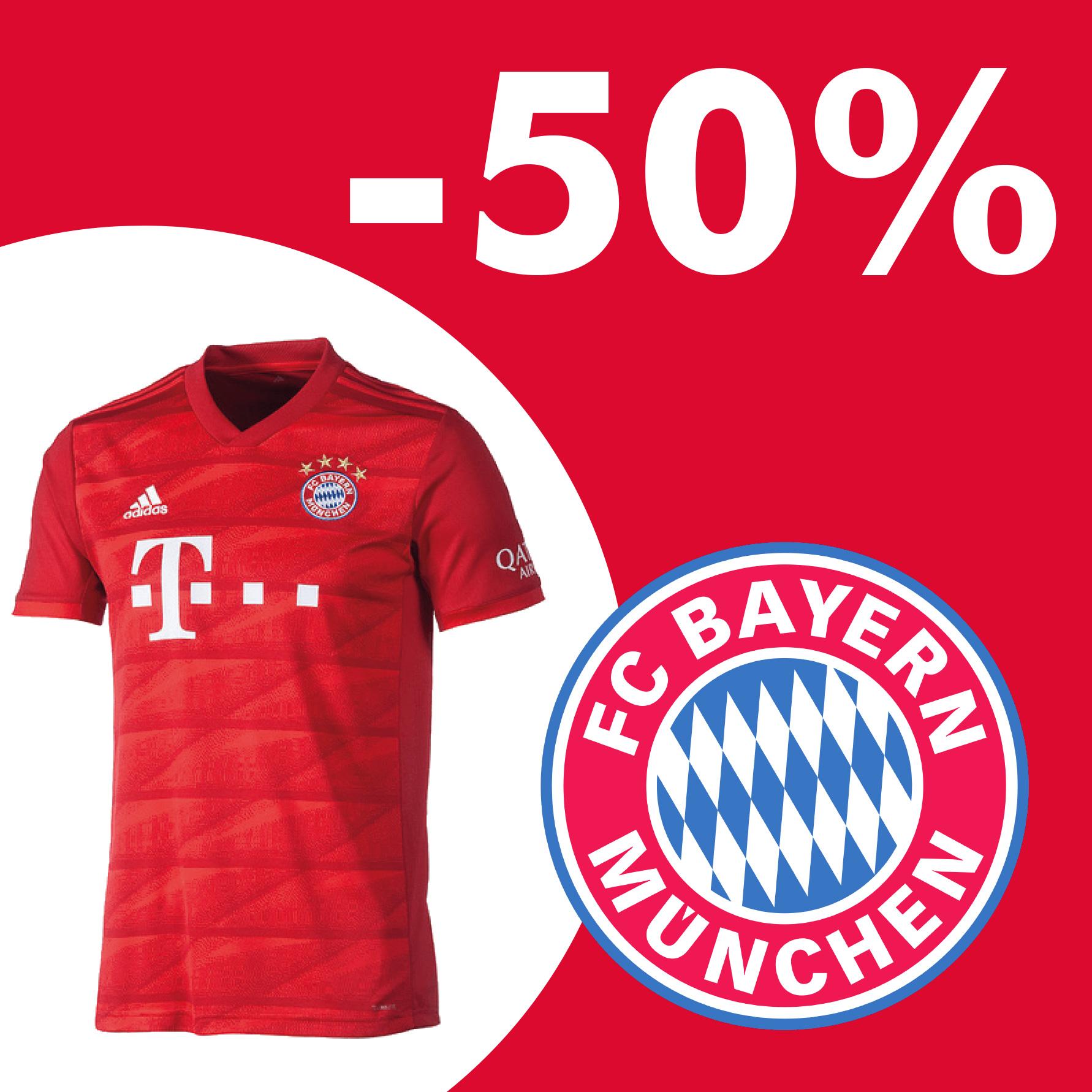 -50% auf FC Bayern Trikots Away, Home & Champions League